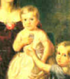 =A painting of a blond toddler in a white dress being supported by another child wearing a blue dress.
