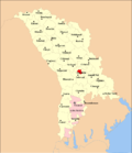 Map of Moldova highlighting Chişinău