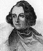 Engraved portrait of Dickens as a young man looking to his right. He has a large forehead and longish curly dark hair, parted on the right. He is wearing a jacket with wide lapels and an open front over a vest.