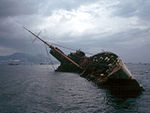 Wreck of Queen Elizabeth in Victoria Harbour, Hong Kong in 1972.
