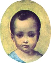 Framed oval head and shoulders portrait of an infant boy