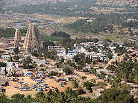 Aerial photo of triangular temple and surrounding buildings