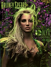 "Image of a blond woman. She is wearing a  dress, laced up in the front. Her hair seems to be moving. The woman is looking directly into the camera. In the left above the woman, the words 'BRITNEY SPEARS' are written in green long handwriting. In the right of the woman's face, the words ""THE ONYX HOTEL TOUR 2004"" are written, with the O of Onyx replaced with a diamond."