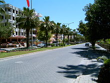 A mostly empty stone-paved street with palm trees running down the central median. Five story buildings line the left side.