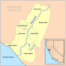 There are eight cities in the Aliso Creek watershed, including Mission Viejo, Aliso Viejo and Laguna Niguel. Sulphur Creek, at the southeast, is the creek's largest tributary.