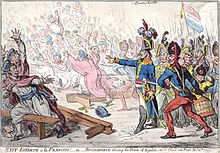 Cartoon with many men fleeing over upturned tables as Bonaparte stands raising his hand towards them and his soldiers advance with bayonets