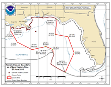 June 21, 2010 National Oceanic and Atmospheric Administration map of the Gulf of Mexico showing the areas closed to fishing.