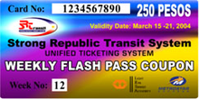 "A card with a background of blue, purple, and yellow shows the card's number; its value of 250 pesos; the dates of its validity; logos of the SRTS, LRT, and MRT; a week number; and the words ""Strong Republic Transit System Unified Ticketing System Weekly Flash Pass Coupon""."