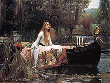 A painting of a red haired woman, sitting in a boat, surrounded by trees