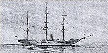 Side view of a three-masted ship with a smokestack on a flat sea.