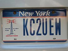 A New York State Amateur (HAM) Radio license plate.
