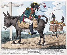 Cartoon of Napoleon sitting back to front on a donkey with a broken sword and two soldiers in the background drumming
