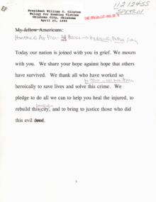 A document showing Bill Clinton's message to victims. Some of the typed text has been scribbled out and replaced with hand-written text.