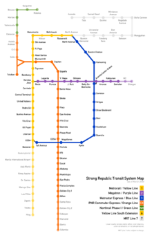 Color-coded lines on an outline map illustrating relative positions of existing and planned routes as described in the text