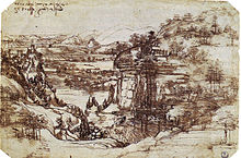 Pen drawing of a landscape with mountains, a river in a deep valley, and a small castle.