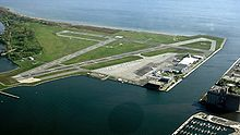 airport runways on island surrounded by water
