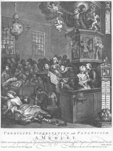 A chapel full of people, many of whom hold small ghostly idols.  A woman lies on the floor, rabbits leaping from under her skirts. A preacher stands in the pulpit, preaching to his congregation.  On the right of the image, a large thermometer is capped by an idol of a ghost.