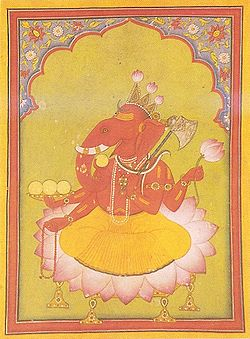 Attired in an orange dhoti, an elephant-headed man sits on a large lotus. His body is red in colour and he wears various golden necklaces and bracelets and a snake around his neck. On the three points of his crown, budding lotuses have been fixed. He holds in his two right hands the rosary (lower hand) and a cup filled with three modakas (round yellow sweets), a fourth modaka held by the curving trunk is just about to be tasted. In his two left hands, he holds a lotus above and an axe below, with its handle leaning against his shoulder.