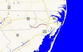 A map of the northeastern lower Eastern Shore showing major roads.  Maryland Route 374 runs from Powellville to Berlin.