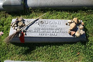 The grave marker at Harry Houdini's burial site