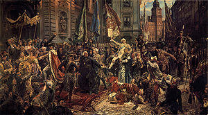 May 3rd Constitution, by Matejko (1891). King Stanisław August (left) enters St. John's Cathedral, where deputies will swear to uphold the Constitution. Background: Warsaw's Royal Castle, where it has just been adopted.