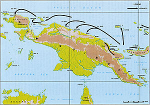 Topographic map of the island of New Guinea and the surrounding islands with arrows indicating an Allied advance along the northern coast.