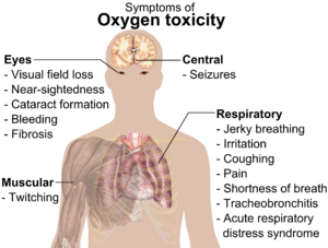 A diagraph showing a man torso and listing symptoms of oxygen toxicity: Eyes – visual field loss, near)sightedness, cataract formation, bleeding, fibrosis; Head – seizures; Muscles – twitching; Respiratory system – jerky breathing, irritation, coughing, pain, shortness of breath, tracheobronchitis, acute respiratory distress syndrome.