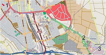 A map of central Wiesbaden.