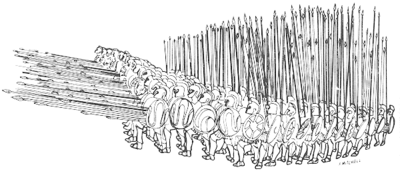 An ancient Greek military formation. The formation is sixteen men deep and sixteen men wide. The soldiers are armed with large, oval shields and long spears