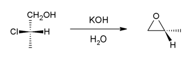 Methyloxirane from 2-chloroproprionic acid.png